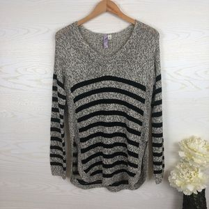 Francesca's Slouchy Cozy Knit Striped Sweater